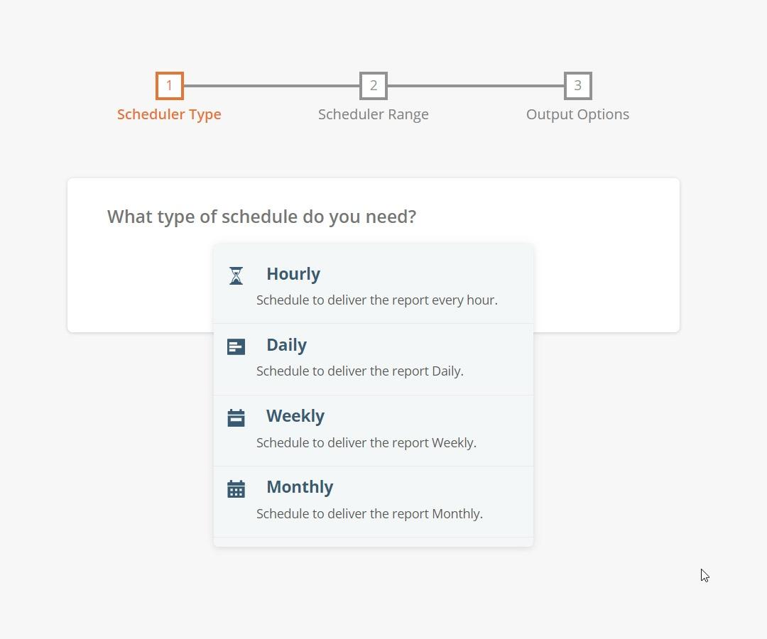 Data Export Screenshot - Scheduler