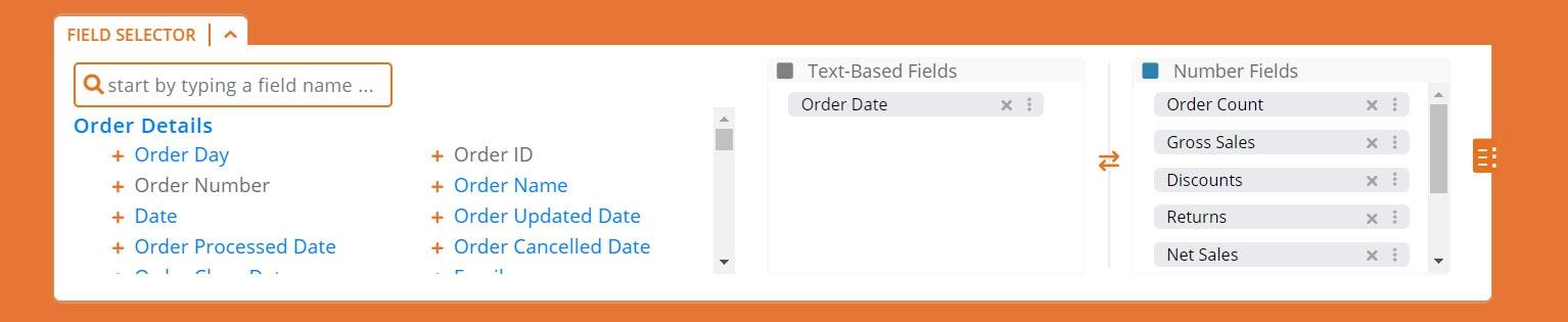 Data Export Screenshot - Select Fields